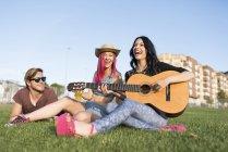 Друзі, сидячи на траві, грати на гітарі — стокове фото