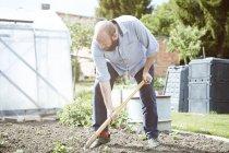 Young man working garden, digging — Stock Photo