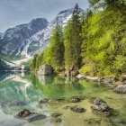 Italy, South Tyrol, Dolomites, Fanes-Sennes-Prags Nature Park, Lake Prags with Seekofel — Stock Photo