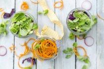 Ensaladas de arco iris en vasos con garbanzos, tomates, zanahorias, repollo, rábano rojo, lechuga y queso feta - foto de stock