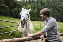Germany, Bavaria, Bad Toelz, man with horse at fence — Stock Photo