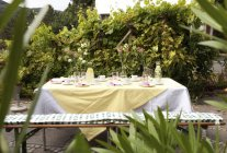 Laid table in garden, decorated for a birthday party — Stock Photo