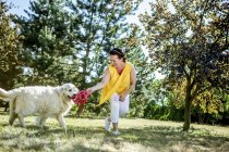 Mature woman playing with dog on a meadow — Stock Photo