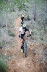 Два горных велосипедиста едут по лесной тропе — стоковое фото