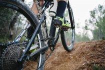 Закри mountainbiker на лісовими стежками — стокове фото