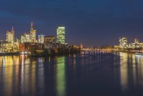 Germany, Frankfurt, view to Westhafen and skyline at night — Stock Photo