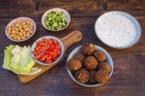 Preparation of falafel, vegetan falafel, ingredients in bowls — Stock Photo