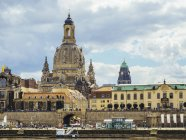 Germany, Dresden, dome of the Frauenkirche  as seen from Elbe River — Stock Photo