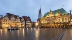 Germany, Bremen, Bremen Town Hall at market square in the evening — Stock Photo