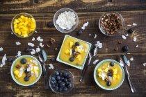 Schalen mit Mango-Smoothie mit gewürfelte Mango, Kokosflocken, Heidelbeeren und Choco crunch — Stockfoto