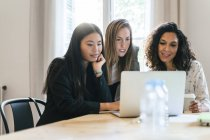 Three businesswomen working together on laptop — Stock Photo