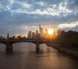 Scenic view of Frankfurt am Main cityscape at sunset, Germany, Europe — Stock Photo