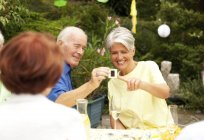 Senior man looking at slide with guests at garden — Stock Photo