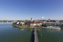 Germany, Friedrichshafen, City center with St. Nicholas' Church view from above — Stock Photo