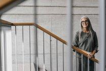 Retrato de mulher sorridente com cabelos longos e cinzentos em pé na escadaria — Fotografia de Stock