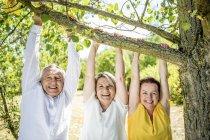Felizes amigos idosos pendurado no galho da árvore — Fotografia de Stock