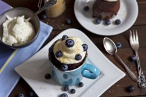 Chocolate cup cake with whipped cream, cane sugar and blueberries — Stock Photo