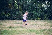 Niño jugando fútbol en un prado - foto de stock