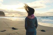 Испания, Фуэртевентура, Эль Котильо, вид сзади женщины на пляже с распухшими волосами — стоковое фото