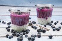 Дві склянки Чіа лохини пудинг, чорниця і дві чайні ложки по дереву — стокове фото