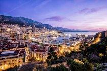Monaco, La Condamine, Monte Carlo by night with lights — Stock Photo