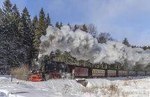 Germany, Saxony-Anhalt, Harz National Park, Harz Narrow Gauge Railway in winter — Stock Photo