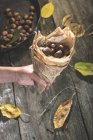 Female hand holding sweet chestnuts — Stock Photo