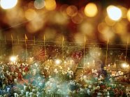 Inde, Uttar Pradesh, Varanasi, rivière Ganges, Ghats, personnes debout à la cérémonie la nuit — Photo de stock