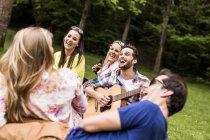 Счастливые друзья с гитары и пиво бутылки отдыха в парке — стоковое фото