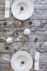 Два параметри місце на накритий стіл на Різдво — стокове фото