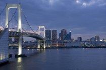 Japan, Tokyo, Rainbow bridge in the evening — Stock Photo