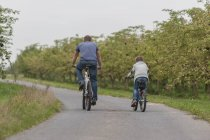 Back view of little boy and his father on bicycle tour — Stock Photo
