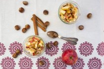 Verres d'avoine au jour le jour avec la cannelle, les noisettes et les pommes en tranches — Photo de stock