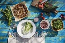 Вид сверху рукколой, помидорами, огурцами, луком и крокана — стоковое фото