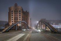 Germany, Hamburg, The Maritime Museum in the Hafencity at night — Stock Photo