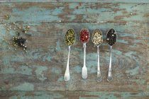 Fila de cuatro cucharas de plata con diferentes tipos de granos de pimienta - foto de stock