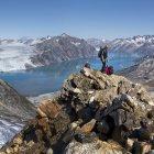 Гренландия, Кулусук, альпинистов в Schweizerland Альпах — стоковое фото
