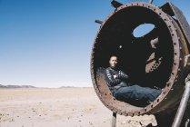 Bolivia, Uyuni treno cimitero, che si distende all'interno di una vecchia cisterna ferroviaria — Foto stock