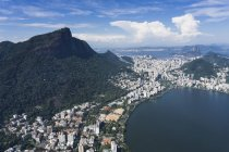 Brazil, Aerial view of Rio De Janeiro, Corcovado mountain with statue of Christ the Redeemer — Stock Photo