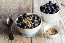 Bowls of porridge with blueberries on wood — Stock Photo