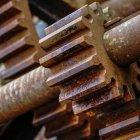 Rostige alte Metallgetriebe, close-up — Stockfoto