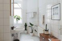 Minimalist white bathroom, interior decoration — Stock Photo