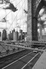 USA, New York City, part of Brooklyn Bridge with view to Manhattan citycsape — Stock Photo