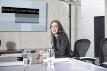 Businesswoman prepaing meeting in conference room — Stock Photo