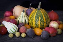 Varie zucche variopinte e verdure su superficie scura — Foto stock