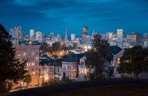 USA, San Francisco at night under cloudy sky — Stock Photo