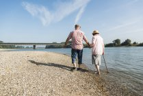 Back view of senior couple walking hand in hand at riverside — Stock Photo