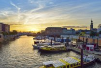 Germany, Hamburg, harbor, Binnenhafen at sunset, elevated view — Stock Photo