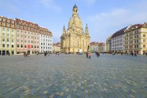 Germany, Saxony, Dresden, Church of Our Lady on city square view — Stock Photo