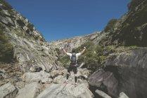 Coureur d'ultra trail appréciant le paysage avec les mains levées — Photo de stock